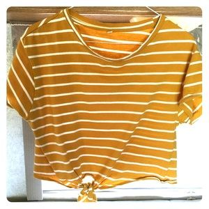 Tops - Gold and White Crop Top